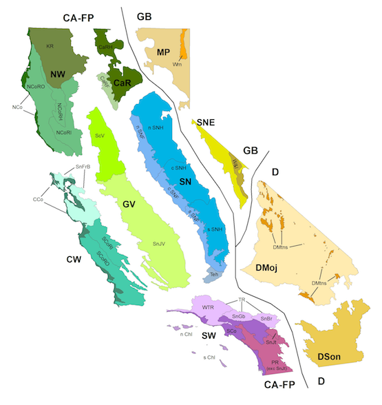 map of California, split up by different bioregions